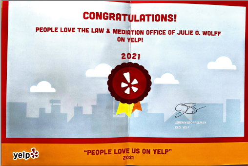 Sticker People Love us on Yelp! award Law and Mediation Office of Julie O Wolff