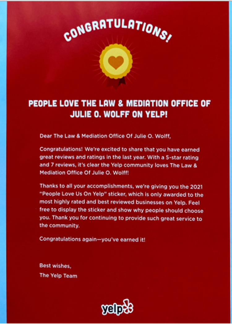 People Love us on Yelp! award Law and Mediation Office of Julie O Wolff